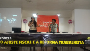 Flávia Costa e a diretora de mulheres da Fenametro, Rosa Anacleto